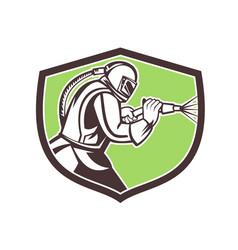 Abrasive blasting mascot crest vector