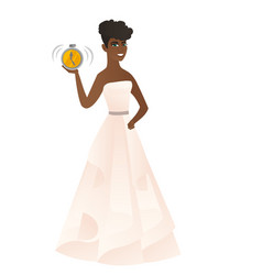 African-american fiancee holding alarm clock vector