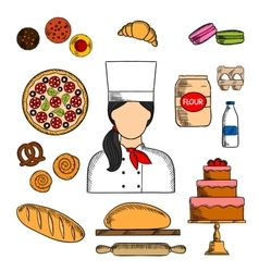 Baker with bread and pastries colored sketch icon vector