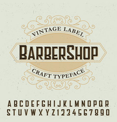 barber shop label font poster vector image vector image