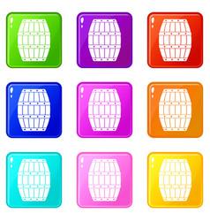 Barrel icons 9 set vector