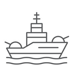Battleship thin line icon navy and army warship vector