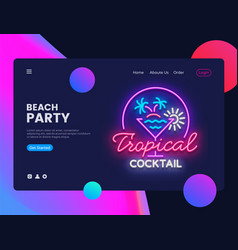 beach party concept banner tropical cocktails vector image