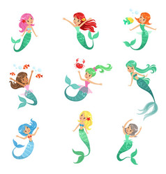 Beautiful fairy tale mermaid princess vector