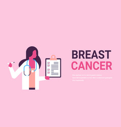 breast cancer day female doctor holding clipboard vector image