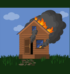 Burning wooden house fire in a rustic wooden vector