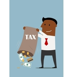 Businessman collecting taxes with bag of money vector image