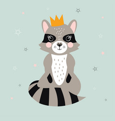 card with cute raccoon vector image