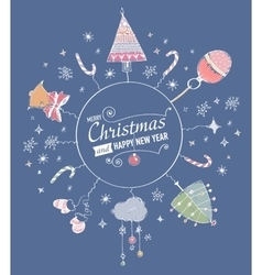 Card with hand drawn watercolor christmas doodle vector