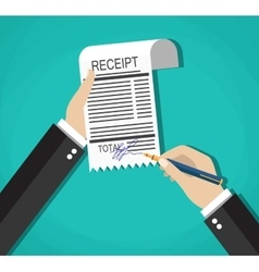 cartoon businessman hands with sign payment bill vector image
