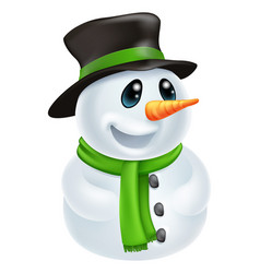 cartoon christmas snowman vector image