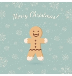 Christmas ginger cookie on winter backdrop vector image