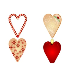 christmas heart on white background vector image