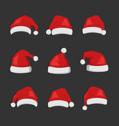 christmas santa claus hats icon flat style vector image