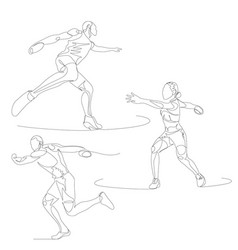 continuous one line discuc thrower set summer vector image