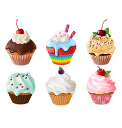 cupcakes 3d set realistic sweet dessert with vector image