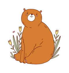 cute bear sitting in flowers vector image