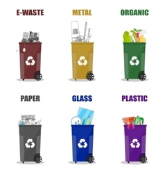 different waste recycling categories garbage bins vector image