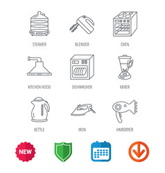 dishwasher kettle and mixer icons vector image
