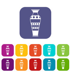Egyptian vase icons set flat vector