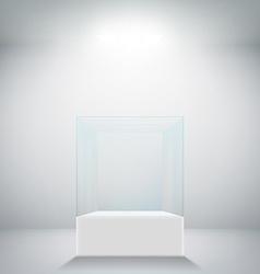 Empty glass showcase for exhibit vector