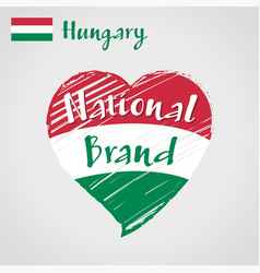 flag heart of hungary national brand vector image