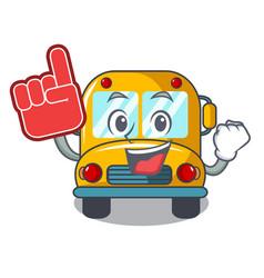 foam finger school bus mascot cartoon vector image