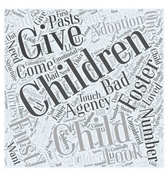 Foster Child Adoption Word Cloud Concept vector