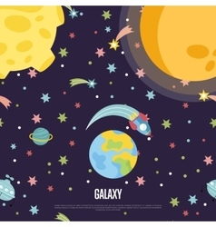 Galaxy Conceptual Cartoon Web Page Template vector image