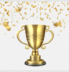 golden cup falling confetti champion gold trophy vector image