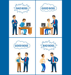 good and bad boss director with office workers vector image