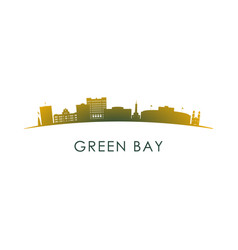 green bay skyline silhouette design colorful vector image