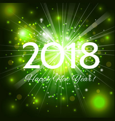green happy new year 2018 card vector image