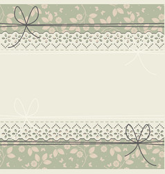 Green lace frame with cute butterflies and leaves vector