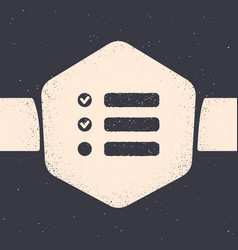Grunge task list icon isolated on grey background vector
