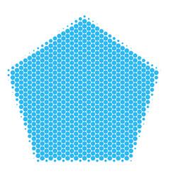 Halftone dot filled pentagon icon vector