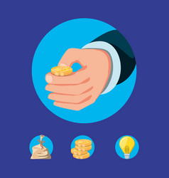 hand with coin dollar and set icons vector image