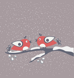 hello winter card with cartoon birds a on a vector image