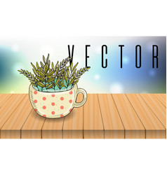 Herbal tea cup on wooden table bokeh background vector