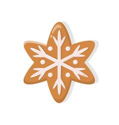 Holiday gingerbread brown snowflake vector