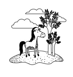 horse cartoon in outdoor scene with trees and vector image