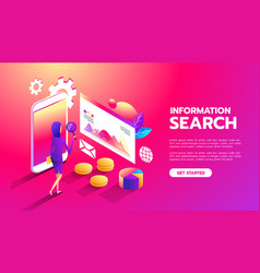 information search web analysis business woman vector image
