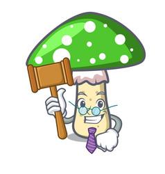 Judge green amanita mushroom mascot cartoon vector