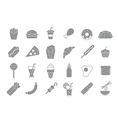 Junk food gray icons vector
