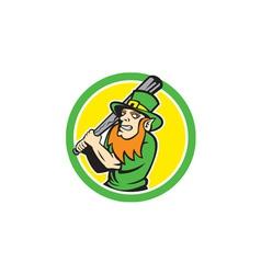 Leprechaun Baseball Hitter Batting Circle Retro vector image
