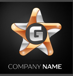 Letter g logo symbol in the colorful star on black vector