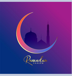 luxury ramadan kareem background with moon and vector image