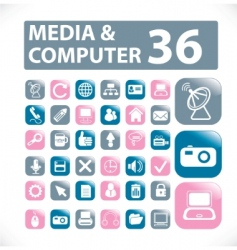 media computer buttons vector vector image