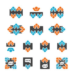 meeting and participate icon set vector image