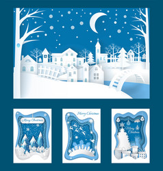merry christmas paper cuts of town and nature vector image